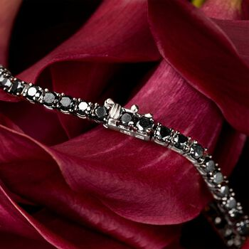 "9.00 ct. t.w. Black Diamond Tennis Bracelet in 14kt White Gold. 8"", , default"