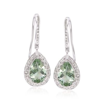 2.20 ct. t.w. Green Prasiolite and .20 ct. t.w. Diamond Earrings in 14kt White Gold