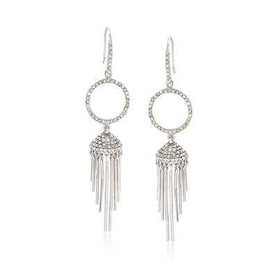 .83 ct. t.w. Pave Diamond Tassel Drop Earrings in Sterling Silver, , default
