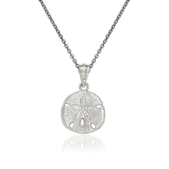 "14kt White Gold Sand Dollar Pendant Necklace. 18"", , default"