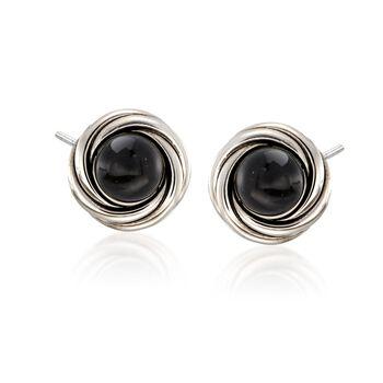 Black Onyx Swirl Frame Earrings in Sterling Silver, , default