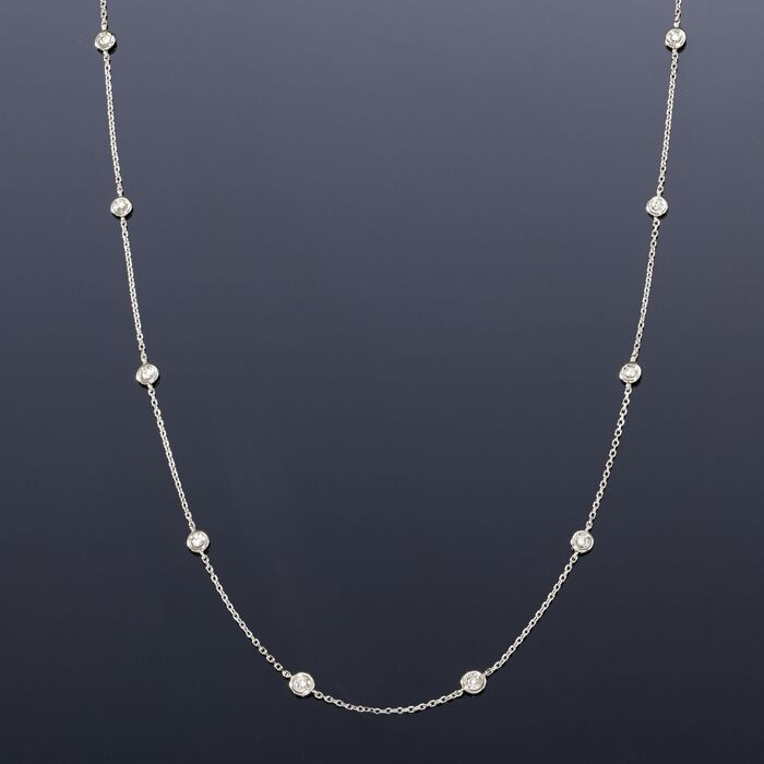 .20 ct. t.w. Diamond Station Necklace in 14kt White Gold