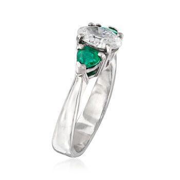 C. 1990 Vintage 1.16 Carat Diamond and .50 ct. t.w. Emerald Ring in 18kt White Gold. Size 6.75, , default