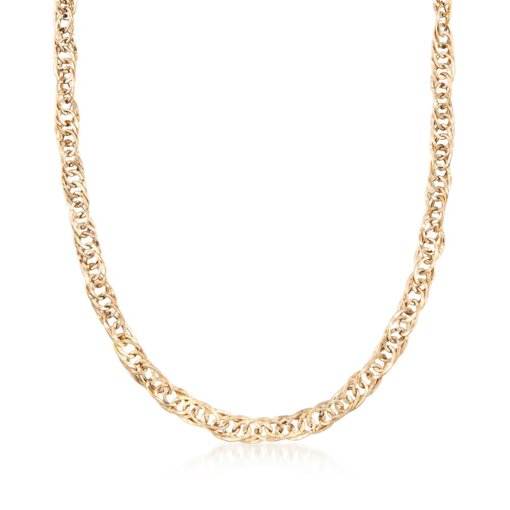 b646ab829 14kt Yellow Gold Interlocking Oval-Link Necklace | Ross-Simons
