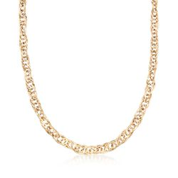 14kt Yellow Gold Interlocking Oval-Link Necklace, , default