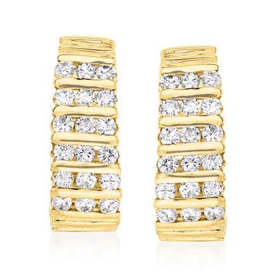 C. 1980 Vintage 2.00 ct. t.w. Diamond J-Hoop Clip-On Earrings in 14kt Yellow Gold