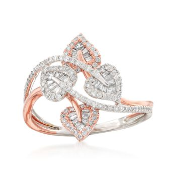 .51 ct. t.w. Diamond Leaf Bypass Ring in 14kt Two-Tone Gold, , default
