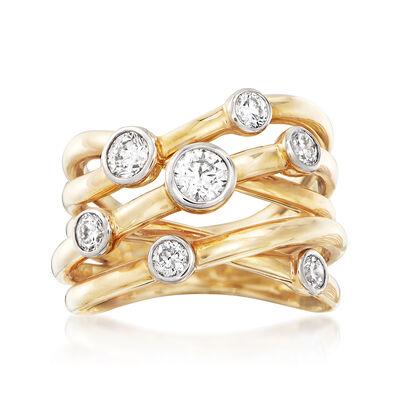 1.07 ct. t.w. Diamond Bezel-Set Crisscross Ring in 14kt Yellow Gold