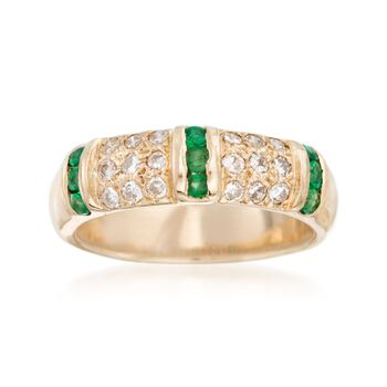C. 1980 Vintage .35 ct. t.w. Emerald and .35 ct. t.w. Diamond Ring in 14kt Yellow Gold. Size 6, , default