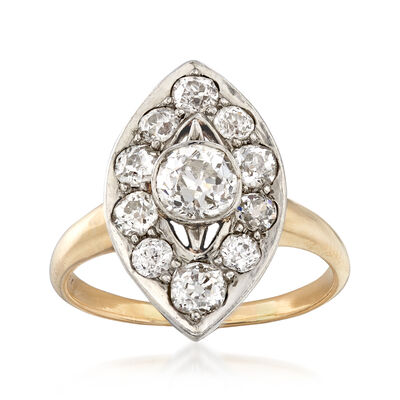 C. 1960 Vintage 1.45 ct. t.w. Diamond Navette Ring in 14kt Yellow Gold, , default