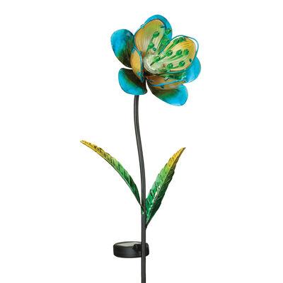 "Regal ""Mystic Flower"" Set of 2 Blue Solar Garden Stakes"