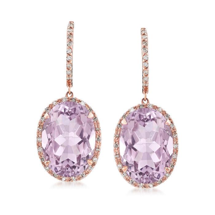 12.00 ct. t.w. Amethyst and .33 ct. t.w. Diamond Drop Earrings in 14kt Rose Gold