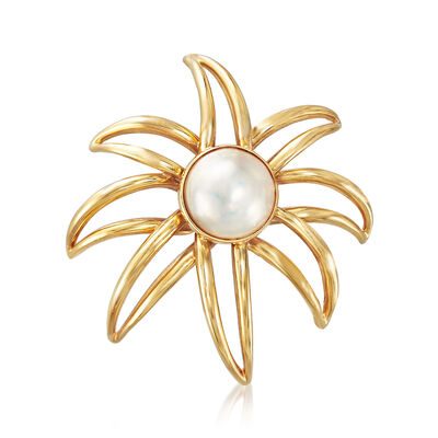 C. 1994 Vintage Tiffany Jewelry 13.5mm Mabe Pearl Pin in 18kt Yellow Gold, , default