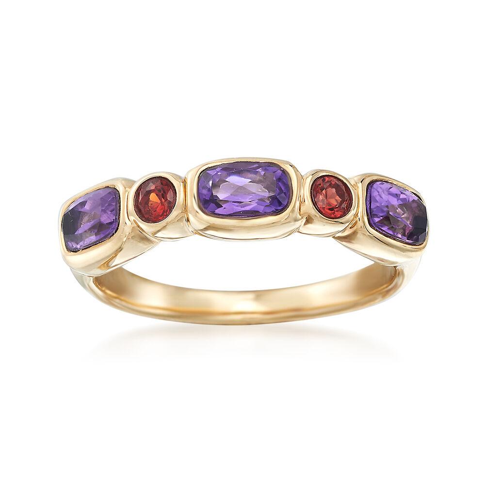 2e081315b 60 ct. t.w. Amethyst and .20 ct. t.w. Garnet Ring in 14kt Yellow ...