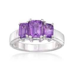 1.90 ct. t.w. Emerald-Cut Amethyst Three-Stone Ring in Sterling Silver, , default
