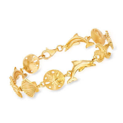 18kt Gold Over Sterling Silver Sea Life Link Bracelet