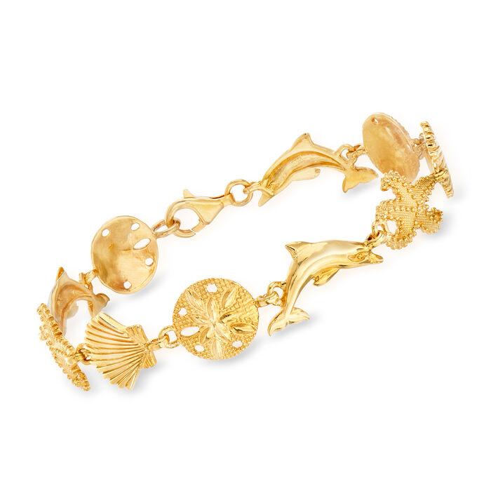 18kt Gold Over Sterling Silver Sea Life Link Bracelet