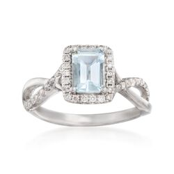 .80 Carat Aquamarine and .32 ct. t.w. Diamond Ring in 14kt White Gold, , default