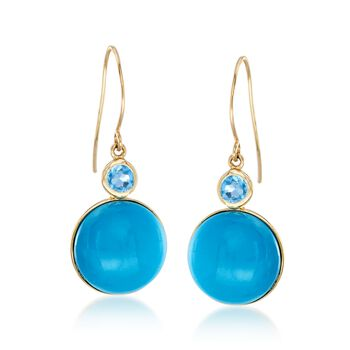 Turquoise and .50 ct. t.w. Blue Topaz Drop Earrings in 14kt Yellow Gold , , default
