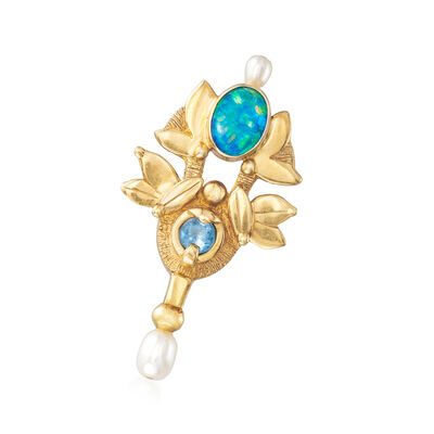 C. 1980 Vintage Cultured Pearl, Opal and .25 Carat Blue Topaz Pin in 18kt Yellow Gold, , default
