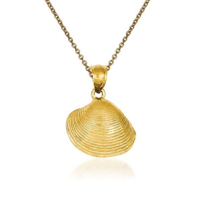 14kt Yellow Gold Clam Shell Pendant Necklace, , default