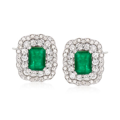 2.00 ct. t.w. Emerald and 1.20 ct. t.w. Diamond Earrings in 14kt White Gold, , default