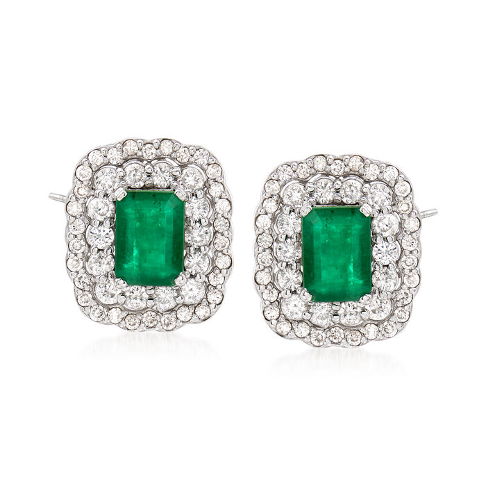 2.00 ct. t.w. Emerald and 1.20 ct. t.w. Diamond Earrings in 14kt White Gold