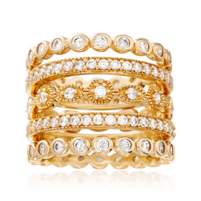 2.50 ct. t.w. CZ Jewelry Set: Five Eternity Bands in 18kt Gold Over Sterling, , default