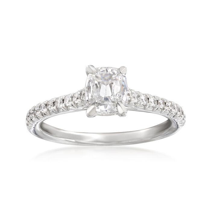 Henri Daussi .91 ct. t.w. Diamond Engagement Ring in 18kt White Gold, , default