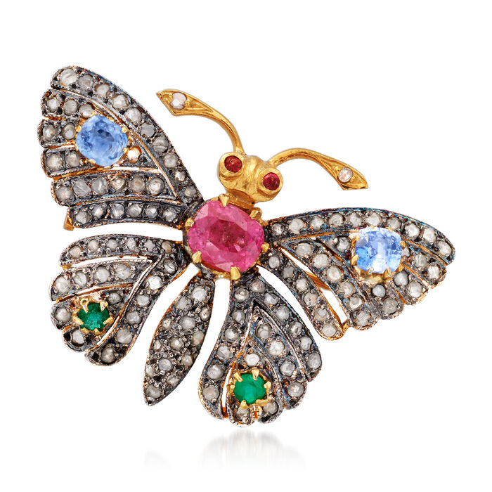 C. 1980 Vintage 1.13 ct. t.w. Diamond and 1.03 ct. t.w. Multi-Gem Butterfly Pin/Pendant in Sterling Silver and 14kt Gold Over Sterling