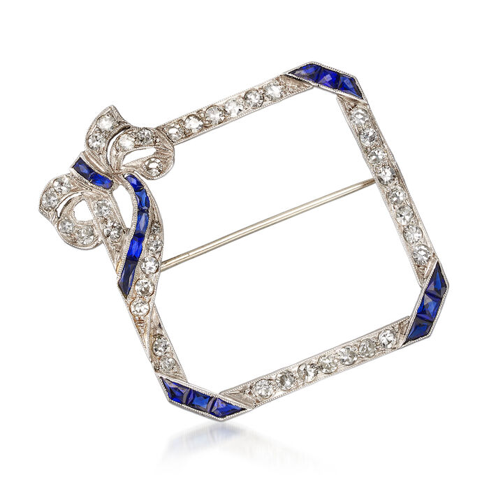 C. 1950 Vintage 1.15 ct. t.w. Diamond and .80 ct. t.w. Synthetic Sapphire Pin in Platinum