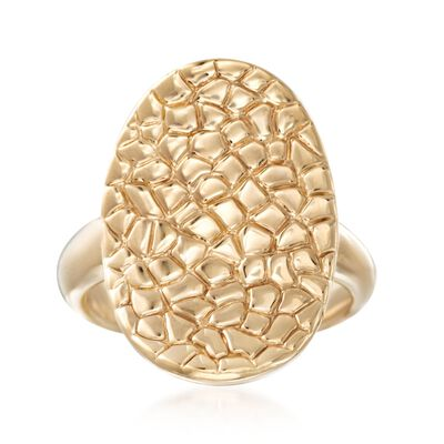 14kt Yellow Gold Snakeskin-Textured Oval Ring, , default