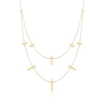 "14kt Yellow Gold Vertical Bar Multi-Layer Necklace. 18"", , default"