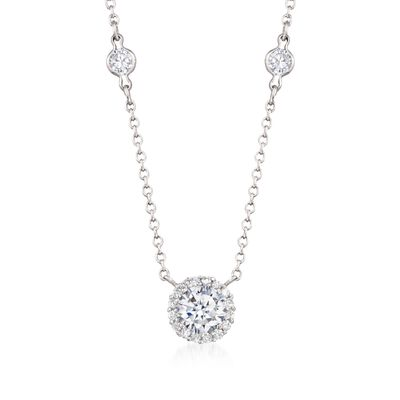 3.65 ct. t.w. CZ Station Necklace in Sterling Silver, , default