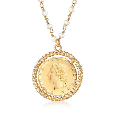 Italian 3mm Cultured Pearl and 22kt Gold Over Sterling Replica Lira Coin Necklace, , default