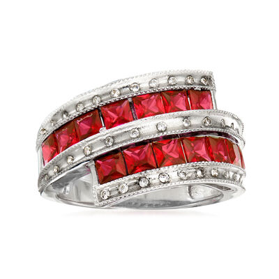 2.10 ct. t.w. Simulated Ruby and .50 ct. t.w. CZ Ring in Sterling Silver, , default