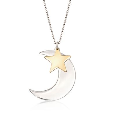 Italian Two-Tone Sterling Silver Moon and Star Drop Necklace, , default