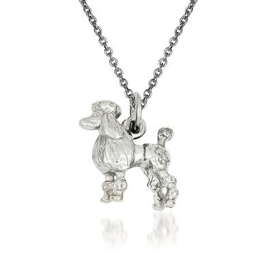 14kt White Gold Poodle Pendant Necklace