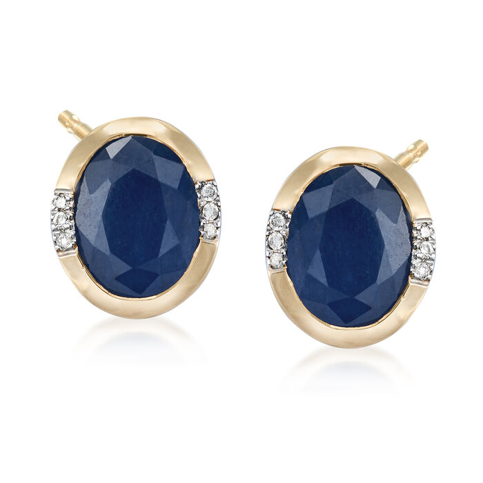 5.00 ct. t.w. African Sapphire Earrings with Diamond Accents in 14kt Yellow Gold, , default