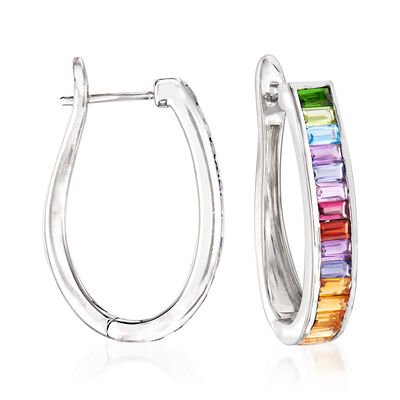 2.60 ct. t.w. Multi-Gemstone Hoop Earrings in Sterling Silver