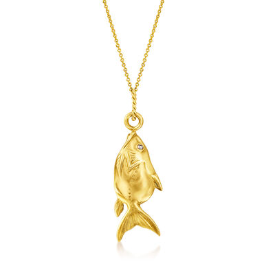 C. 1980 Vintage 18kt Yellow Gold Fish Pendant Necklace