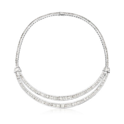 C. 1980 Vintage 20.11 ct. t.w. Diamond Double-Row Necklace in 18kt White Gold