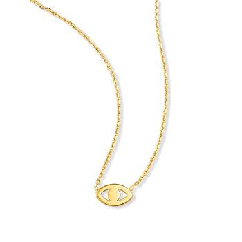 14kt Yellow Gold Evil Eye Necklace, , default