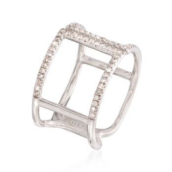.39 ct. t.w. Diamond Squared Open Space Ring in Sterling Silver, , default