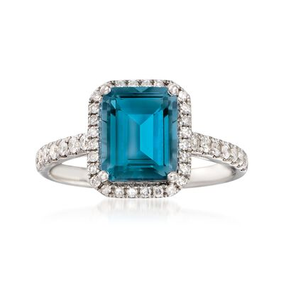 3.00 Carat London Blue Topaz and .37 ct. t.w. Diamond Ring in 14kt White Gold, , default
