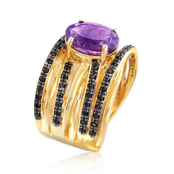 2.20 Carat Amethyst and .50 ct. t.w. Black Spinel Highway Ring in 18kt Gold Over Sterling