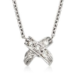 "Roberto Coin ""Tiny Treasures"" Pave Diamond ""X"" Pendant Necklace in 18kt White Gold, , default"