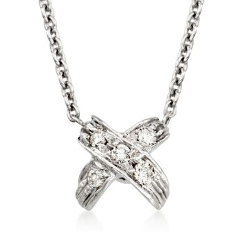 """Roberto Coin """"Tiny Treasures"""" Pave Diamond """"X"""" Pendant Necklace in 18kt White Gold. 16"""", , default"""