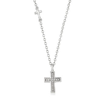 14kt White Gold Cross Necklace with Diamond Accents