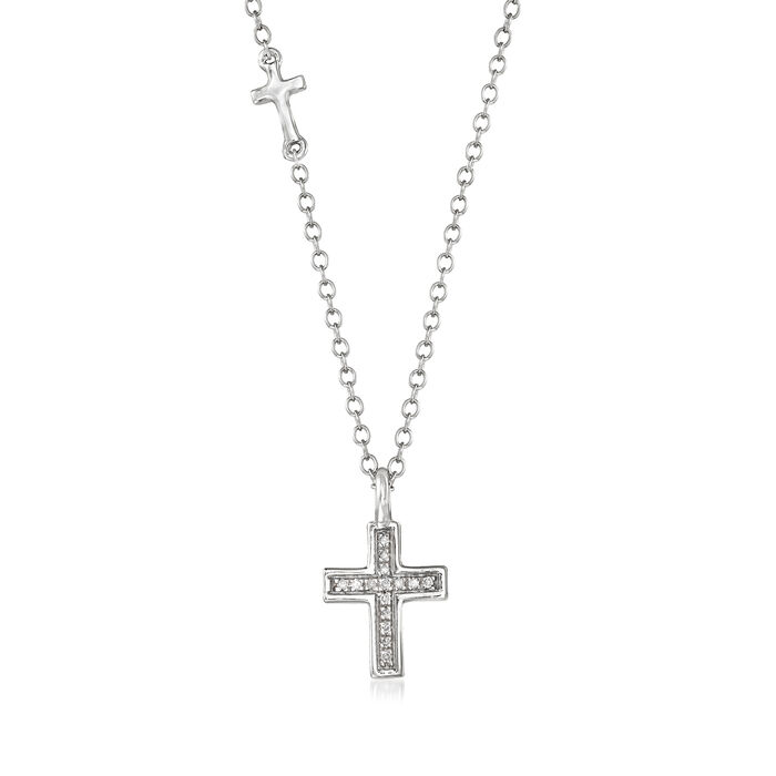 14kt White Gold Cross Necklace with Diamond Accents, , default